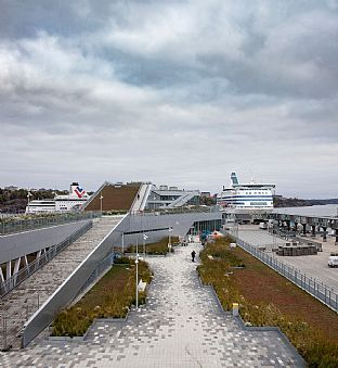 Innovative ferry terminal designed by C.F. Møller opens in Stockholm - C.F. Møller. Photo: Adam Mørk